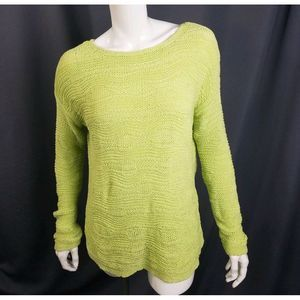 J Jill Textured Sweater Tunic Knit M Green L/S